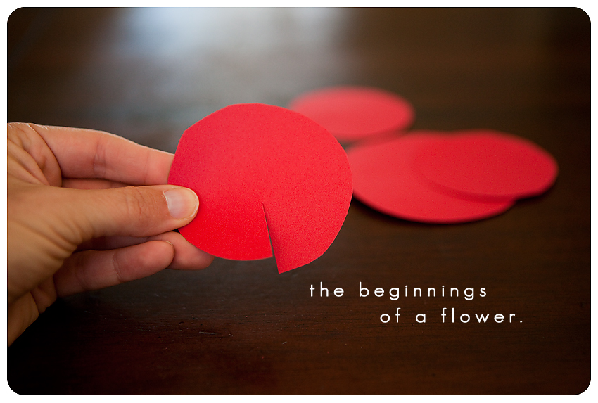 How to make paper flowers kristin eldridge twist the circle to make a slight cone shape and hot glue in place glue the small cone inside the larger cone then take your four small circle that are mightylinksfo Choice Image