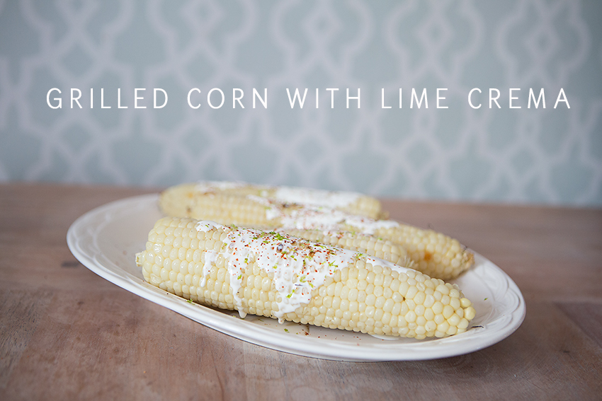 grilled corn with mexican lime crema