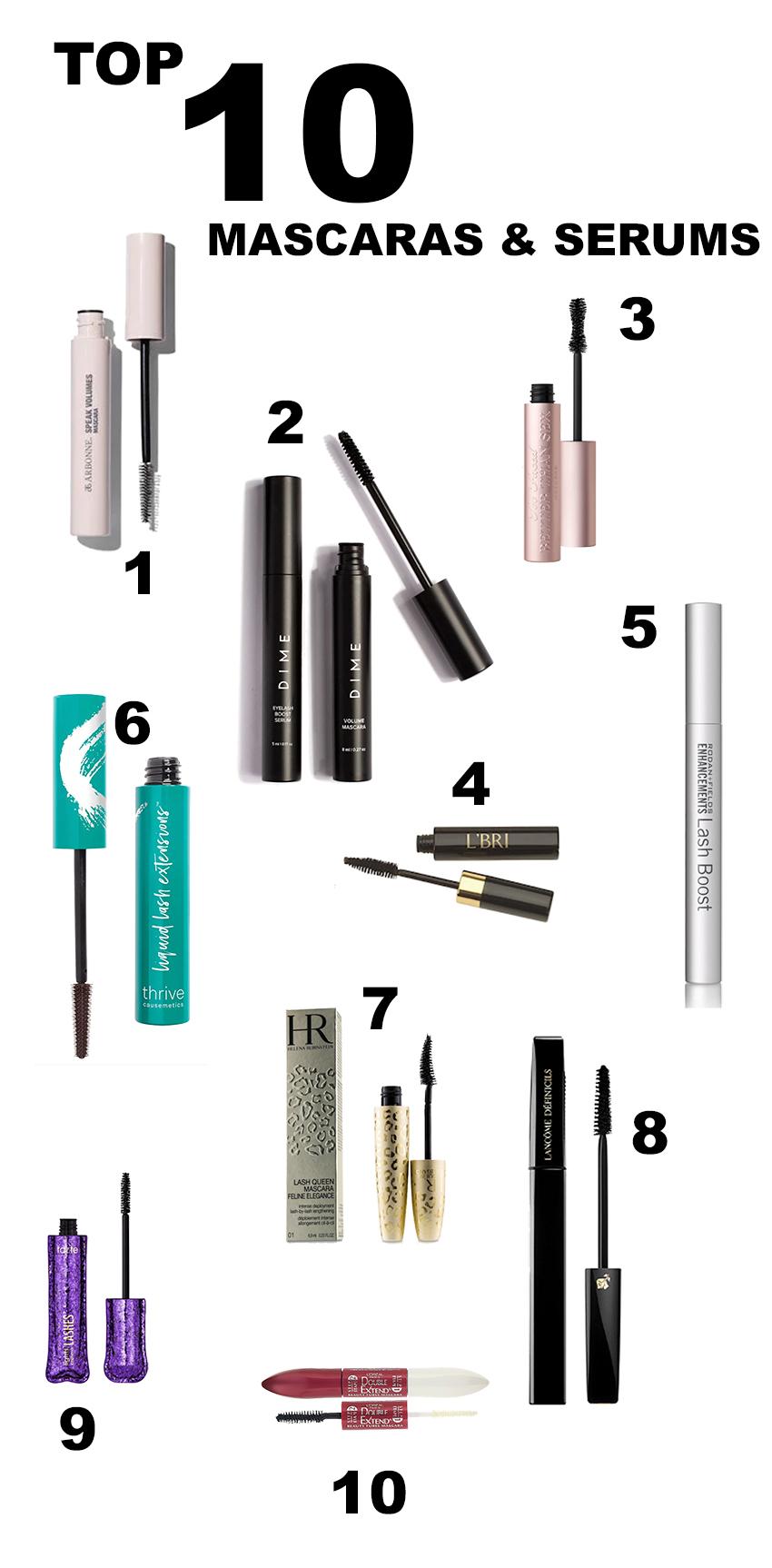top ten mascaras and serums